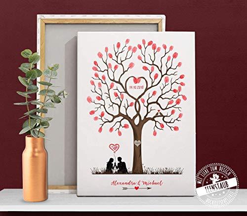 Geschenk von Trauzeugen zur Hochzeit, Wedding-Tree für Fingerabdrücke als Gästebuch-Idee Leinwand