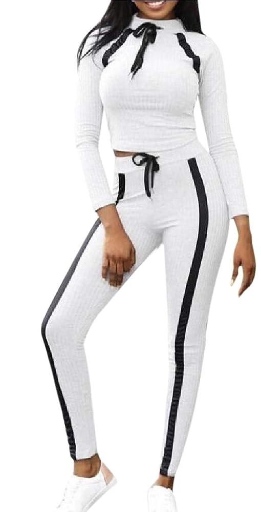 相談するエキサイティングバレーボールWomen's Two Piece Outfits Sexy Long Sleeve Crop Top High Waist Skinny Pants Set