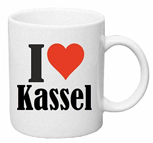 Reifen-Markt Kaffeetasse I Love Kassel Keramik Höhe 9,5cm ⌀ 8cm in Weiß
