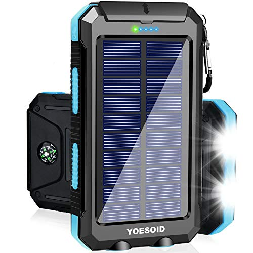 Solar Charger 20000mAh YOESOID Portable Outdoor Waterproof Solar Power Bank...