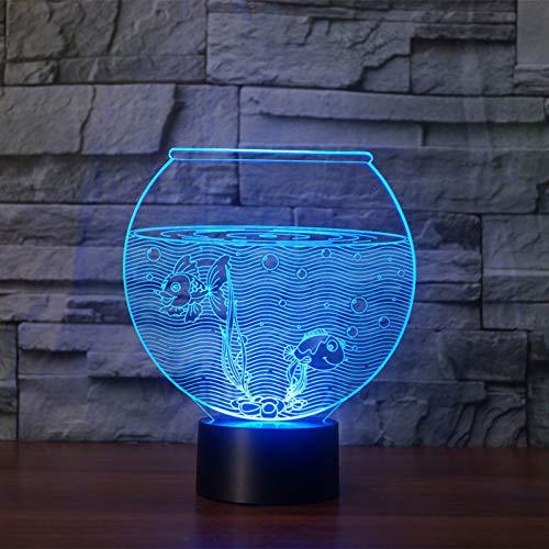 XHSHLID Creatief acryl 7 kleuren kleurverandering aquarium 3D viskom vistank LED nachtlicht slaapkamer tafellamp modern Home Decor