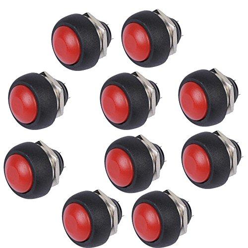 Mintice™ 10 X Interrupteur Bouton Poussoir Rond 12mm Rouge pour Voiture Automobile Bateau Lot de momentané Moto