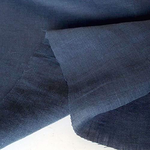TOLKO 50cm Leinen-Stoff als Meterware | blickdichter Naturstoff | für Hose Rock Bluse Kleider Gewänder | fein gewebter Dekostoff für Vorhänge Gardinen und Dekorationen | 140cm breit (Nacht-Blau)
