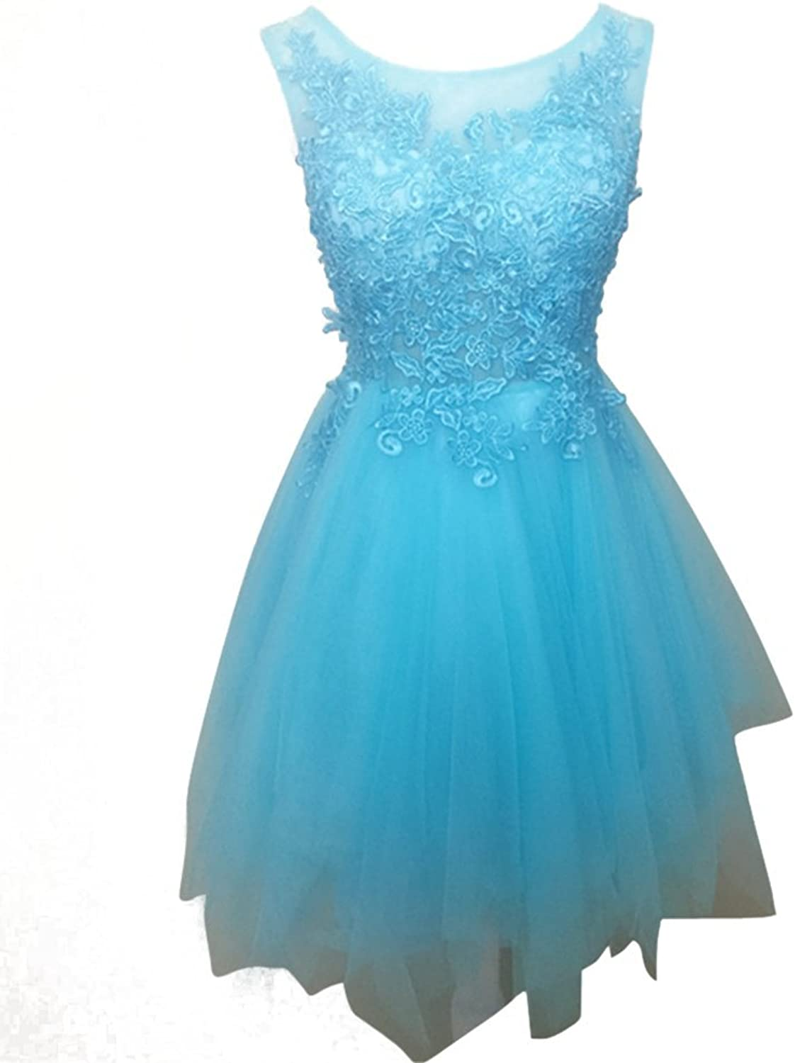 Drasawee Women's Short Organza Homecoming Prom Party Dress Formal Gowns Sky bluee US10