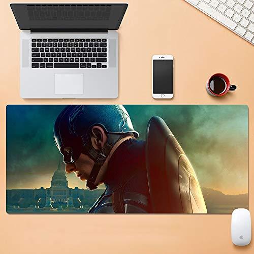 YUBAIBA Captain America Captain America Mouse Pad Silicon Super Keyboard Pad Anime Game E-Sports Mouse Waterproof Non-Slip Mouse Pad Superhero (Color : 800300cm, Size : 5mm)