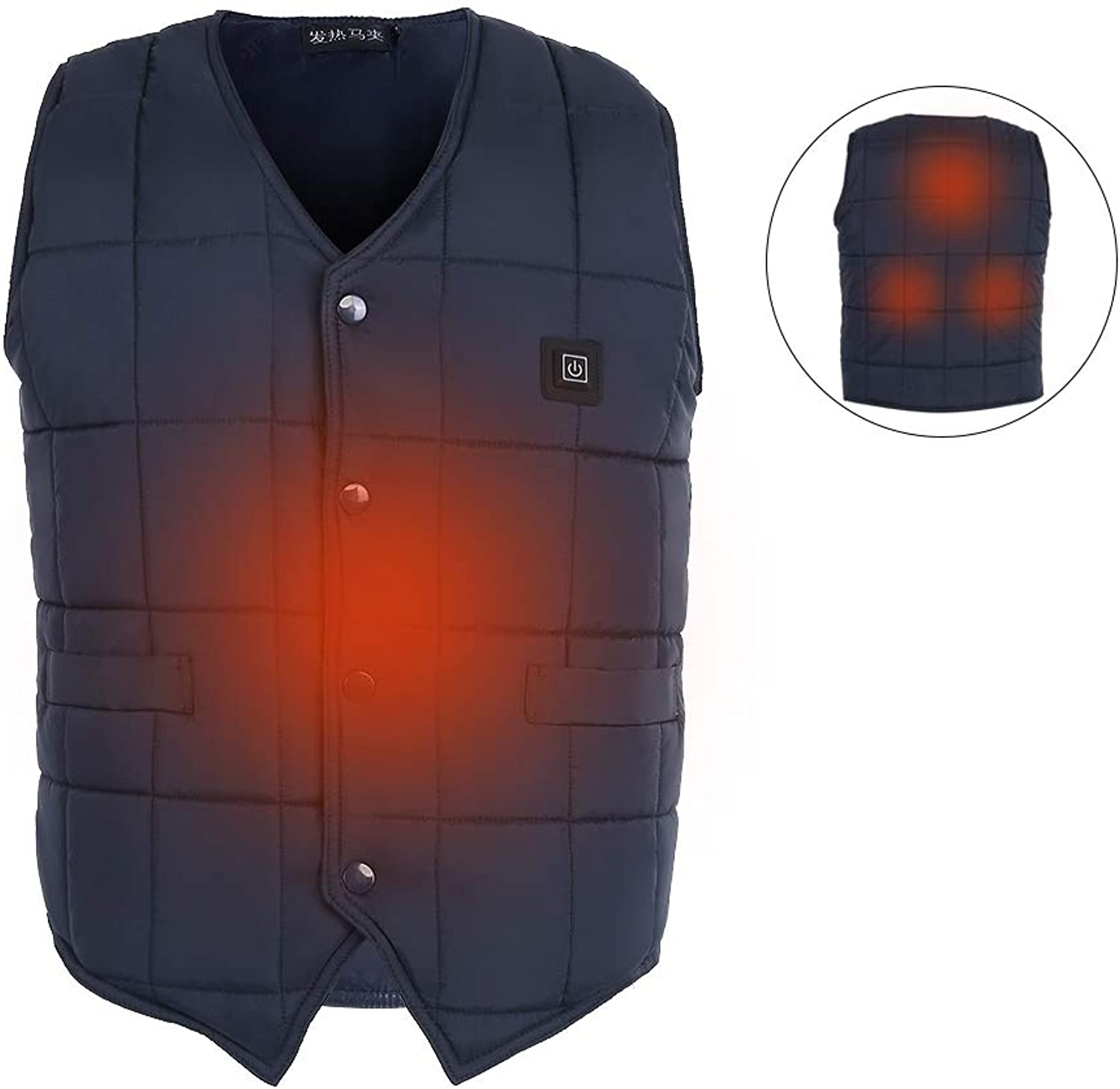 Heated Vest Five Size Electric Warm Vest,USB Infrared Heating Clothing Lightweight Insulated Heated Waistcoat (Black)