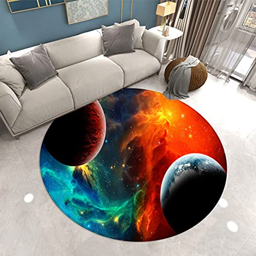 Alfombra Redonda de Galaxia Cielo Estrellado Sala de Estar Dormitorio 3D Espacio Exterior Planeta Juego de Niños Antideslizante Alfombra Pasillo de Cocina Rugs Chair Mats (Naranja,140cm/55.3in)