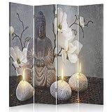 Feeby Frames Biombo Impreso sobre Lona, tabique Decorativo para Habitaciones, a una Cara, de 4 Piezas (145x150 cm), Buda, Cultura, Velas, Flores, Zen