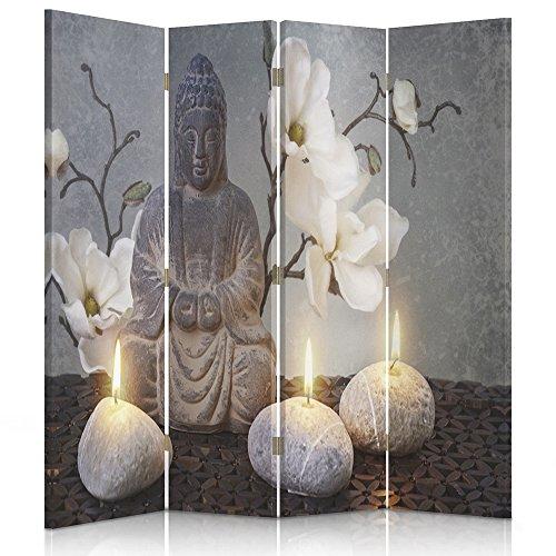 Feeby Frames. Raumteiler, Gedruckten auf Canvas, Leinwand Wandschirme, dekorative Trennwand, Paravent einseitig, 4 teilig (145x150 cm), Buddha, Zen-Kultur, Kerzen, Blumen