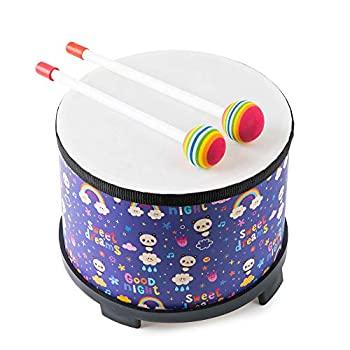 Floor Drum Bongo Tom Drum for Kids 8 inch Montessori Percussion Music Instrument Drum with 2 Mallets for Baby Children Special Christmas Birthday Gift Rainbow Drum