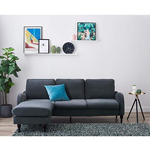 3-Sitzer Ecksofa mit Fußhocker, Velours, für Wohnzimmer, Büro, 198 x 123 x 81 cm, Grau