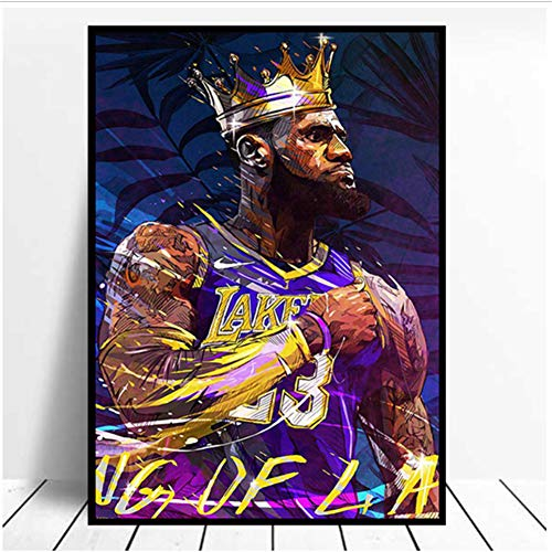 ad NBA Los Angeles Lakers Lebron James Poster Stampa Stampa su Tela Immagine Parete di casa Sala da Basket Decorazione Pittura -60x80cmx1pcs- Senza Cornice