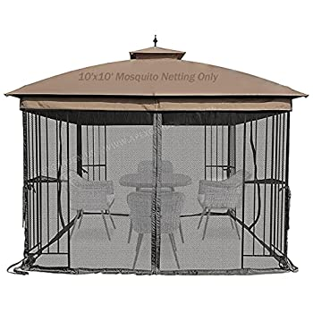 Warmally Replacement Mosquito Netting Mesh Sidewall Curtain with Zipper for 10' x 10' Gazebo Canopy Tent Black