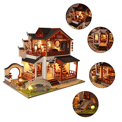 smilerr Puppenhaus Miniatur Mit Möbeln, DIY Dollhouse Kit Mit Staubschutz, Chinesisches Altes Gebäude-Haus-kreative Geschenke Für Weihnachten Valentinstag Geburtstag Lovable