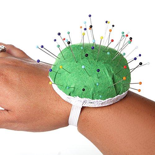 Home-X Wristlet Pincushion. Ball Shape Needle Pin Cushion with Elastic Wrist Belt.