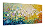 Yihui Arts White Flower Canvas Wall Art Hand Painted 3D Colorful Oil Painting Modern Aestheric Pictures for Living Room Bedroom Dinning Decoration