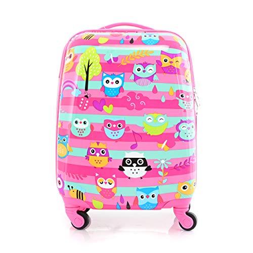 BONTOUR Valigia Per Bambini Bagaglio a Mano trolley bambina con Ruote Girevoli a 360 ° (Gufo)