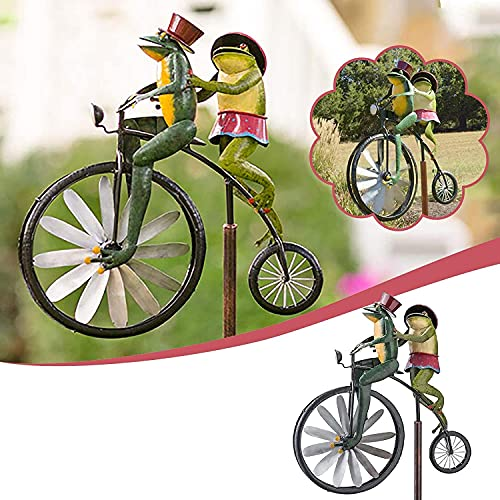Hongguangji Frog cyclist windmill, garden pile windmill, metal wrought iron courtyard garden retro style decoration