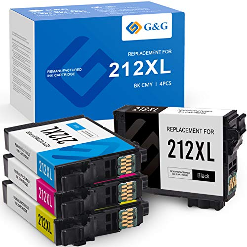 G&G Remanufactured Ink Cartridges Replacement for Epson 212 212XL T212 XL use with Epson Expression Home XP-4100 XP-4105 Workforce WF-2850 WF-2830 (Black, Cyan, Magenta, Yellow, 4-Pack)