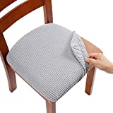 AlGaiety Stretch Spandex Jacquard Seat Chair Covers for Dining Room, Removable Washable Anti-Dust Dinning Kitchen Upholstered Chair Seat Cushion Slipcovers, Set of 6, Silver