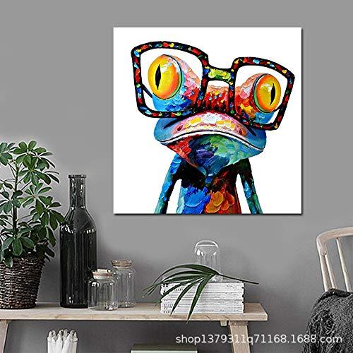 WSNDGWS Modern Abstract Aquarel Kikker Hd Inkt Schilderen Kinderkamer Decoratie Schilderen Zonder Beeld Frame 60x60cm B5
