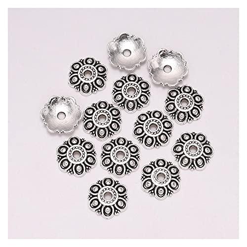 BOSAIYA PJ1 20 unids/Lote 12 mm 6 pétalos Hueco Flor Suelta Spoder Fin Fin Caps para la joyería de Bricolaje Que Hace Encontrar Pendientes Accesorios Tl702