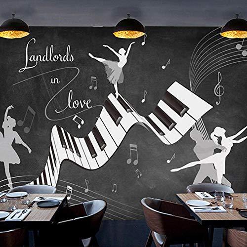 XIAOHUKK Papel tapiz autoadhesivo de PVC foto 3d retro nostálgico cartel de pizarra mural música graffiti piano danza mural arte moderno decoración del hogar sala de estar