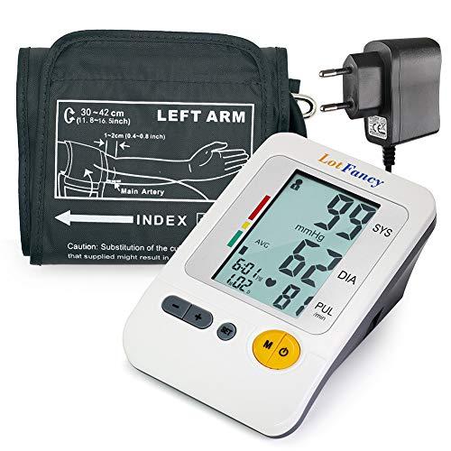 LotFancy Digitales Oberarm Blutdruckmessgerät mit Arm BP Manschette und Adapter, Automatisch, für Erwachsene, 4 Benutzer Modus, CE Genehmigt (ca. 29 cm - 40 cm)