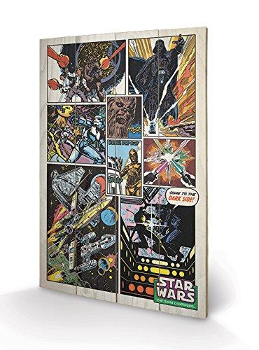 Pyramid International Star Wars Retro Comic - Lámina Decorativa (40 x 59 cm, Madera, Multicolor, 40 x 59 x 1,3 cm)