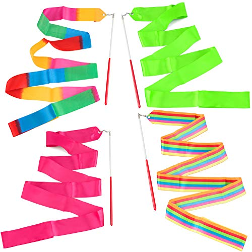 ANCIRS 4 Pack 2-Meter Dance Ribbons, Rainbow Streamers Rhythmic Gymnastics Ribbon, Baton Twirling Wands on Sticks for Kids Artistic Dancing