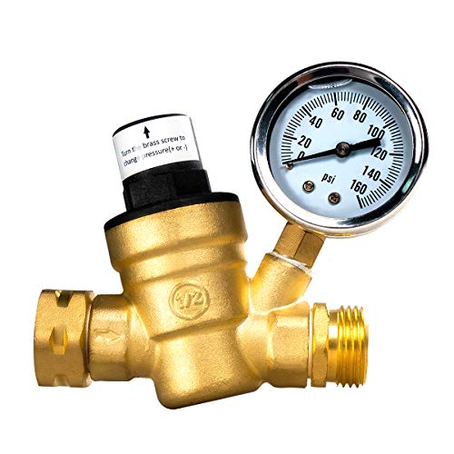 AB Adjustable Water Pressure Regulator, RV Brass Water Pressure Reducer with Gauge and Inlet Screened Filter, Brass Lead-Free 3/4' NH Thread for Camper, RV Trailer
