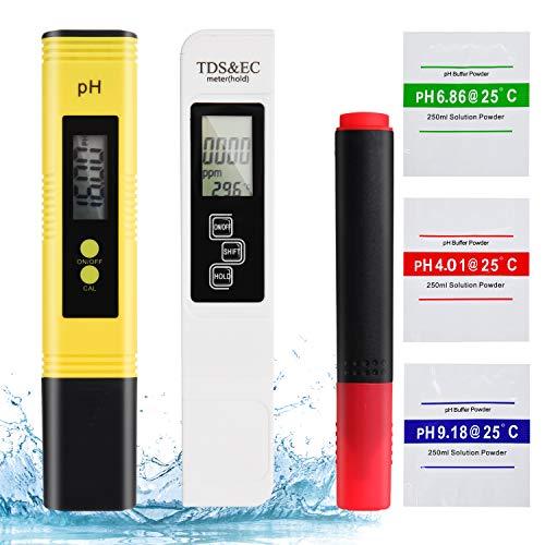 Herefun Testeur pH, Testeur de Qualité de l'eau, Testeur pH Mètre électronique, TDS pH EC Température, pH Mètre Numérique avec Écran LCD pour l'eau Maison, Piscine, Aquarium, Hydroponie