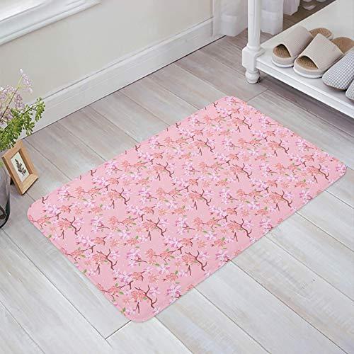 Alfombra estera del piso Tapetes Felpudo Rosa Floral Remolinos Patrón de relleno Interior Floral y rama Fondo rosa alfombras 40X60CM