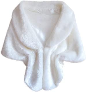 Tsmile Women Fashion Elegant Bridal Wedding Shawl Winter Faux Fur Long Shawl Fuzzy Fluffy Stole Wrap Shrug Scarves