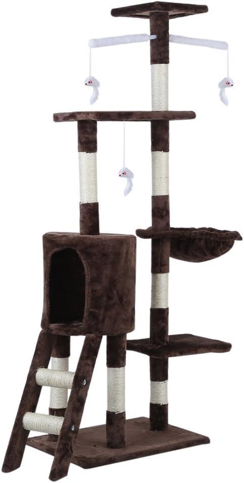 /Árbol Rascador Juguete para Mascotas BigButterfly /Árbol rascador para Gatos 143cm-Marr/ón