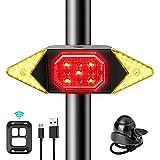 CHYBFU Luz Trasera para Bicicleta con Control Remoto Inalámbrico, Luces Trasera Bici Recargable USB con Señal de Giro para Ciclismo, 6 Modos, Luces LED Direccionales para Máxima Seguridad de Ciclismo