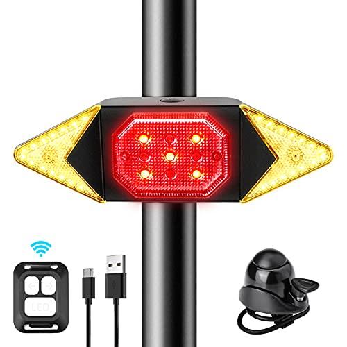 CHYBFU Luce Posteriore Bici con Telecomando Wireless Ricaricabili USB, Indicatore di Direzione per Bici per Ciclismo, modalità 6, IPX4 Impermeabili Luci LED Direzionali per Strada e Montagna