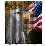 Final Friday Rustic American Flag Eagle Theme Fabric Shower Curtain Sets Bathroom Decor with Hooks Waterproof Washable 70 x 70 inches Blue Red and White
