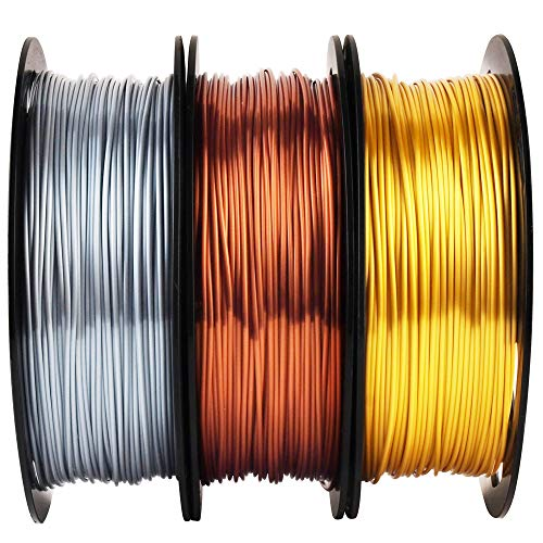 Shiny Silk Gold Silver Copper 1.75mm 3D Printer PLA Filament Bundle, Each Spool 0.5kg, 3 Spools Pack, with One 3D Printer Remove Tool MIKA3D