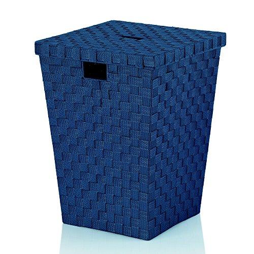 Kela 23089 Panier à Linge Tressé, 40x40x52 cm, Bleu Indigo 'Alvaro'