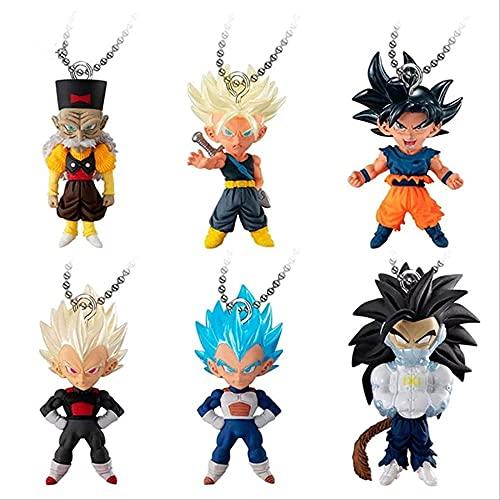 6pcs / Set Dragon Ball Heroes Gashapon Figure Cadena Llavero Llavero UDM Set Burst 37 Ui Goku Vegeta Dr GERTO Juguetes