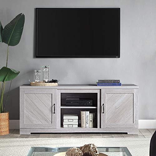 BELLEZE Modern Farmhouse TV Stand & Media Entertainment Center Console Table for TVs up to 65 Inch with Two Shelves and Storage Cabinets - Hilo (Sargent Oak)