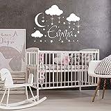 Nubes Luna pared vinilo calcomanía niño niña nombre pared pegatina bebé guardería arte pegatina para habitación de niños