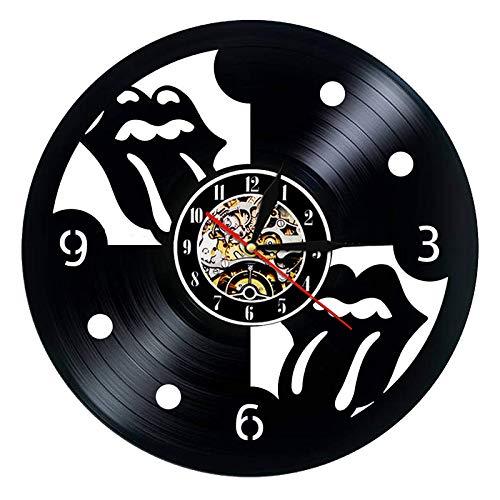 FDGFDG Disco de Vinilo Reloj de Pared Diseño Moderno Rolling Stone Rock Band Reloj de música Mesa de Pared Decoración para el hogar Enviar Regalo de Ventilador