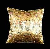 Lorenzo Cana Home Edition Luxus–Cojín de seda Oro Beige mercerizado seda Cojín Tejido Paisley 9600877