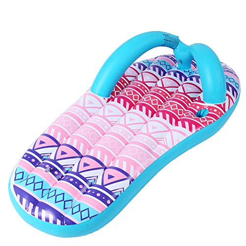 QQW Giant Inflatable Striped Slippers Sliced Flip Flops Swimming Pool Float Adult Ride Water Toy Slippers Swim Ring 160Cm