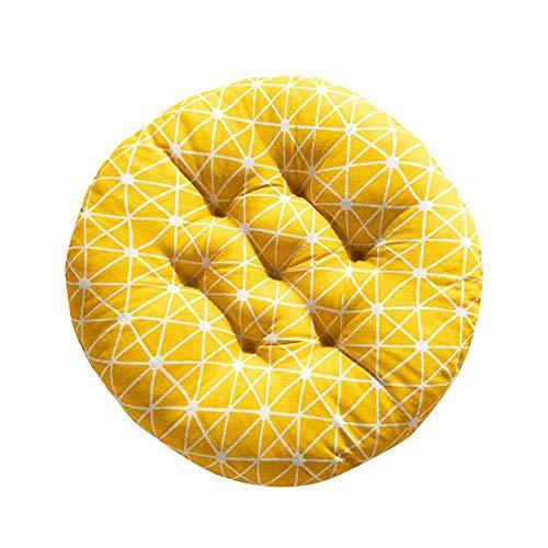 Doitsa. 1 Stück Gelb Sitzkissen Rund Stuhlkissen Weich Baumwolle und Leinen für Stuhl Sofa Bett für Zuhause Garten oder Café 50x50cm
