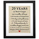 Corfara Framed 20 Years of Marriage Burlap Print Gifts for 20th Anniversary for Him Her 20th Wedding Anniversary Gift for Husband Wife