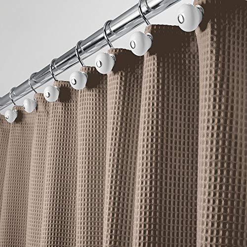 mDesign Luxe douchegordijn, zacht badgordijn met wafelpatroon, onderhoudsvriendelijk douchegordijn bruin