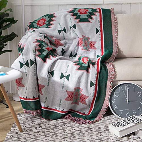 N-B Manta de sofá de Punto Bohemio con borlas, Manta de Hilo, alfombras para Dormir, Cama Suave a Cuadros, Tapiz de decoración del hogar Vintage